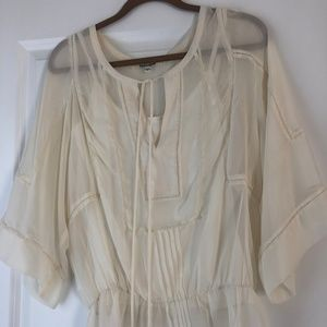 Sheer peasant blouse with included cami